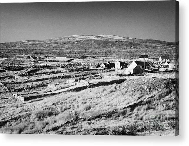 County Acrylic Print featuring the photograph cottages and holiday homes with fields with dry stone walls gweedore county Donegal Republic of Ireland by Joe Fox