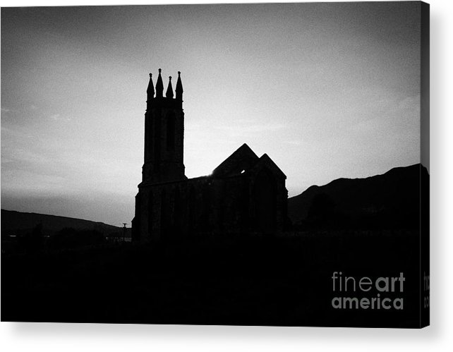 County Acrylic Print featuring the photograph dunlewey church of ireland protestant church silhouetted at sunset Dunlewy county Donegal Republic of Ireland by Joe Fox
