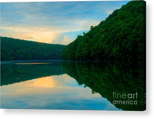 Chauncey Peak Acrylic Print featuring the photograph Dusk On Crescent Lake by JG Coleman