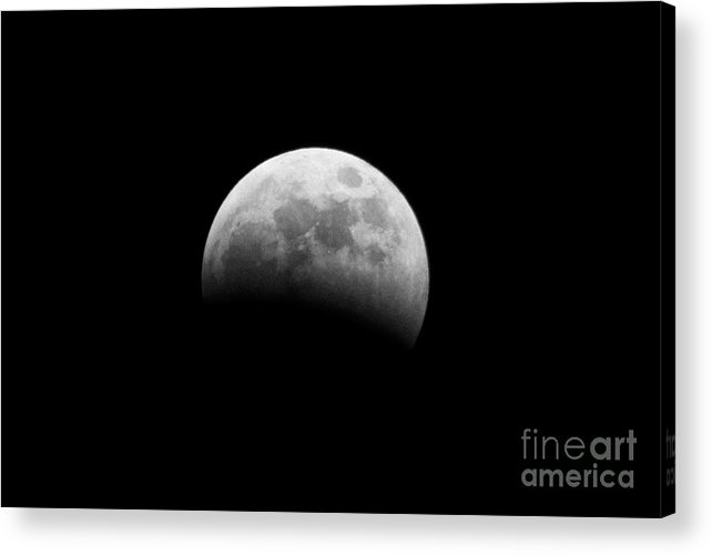 Belfast Acrylic Print featuring the photograph earths shadow passes over the moon at start of a total lunar eclipse as seen from Northern Ireland in March 2007 by Joe Fox
