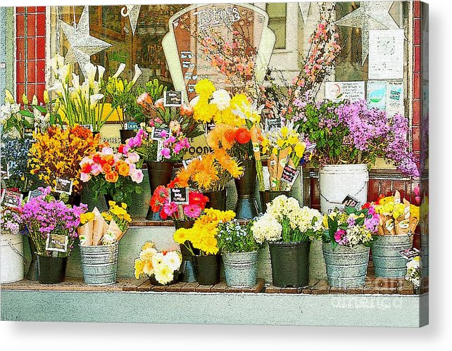 Bi-rite Market In San Francisco Acrylic Print featuring the painting Flowers At The Bi-rite Market In San Francisco by Artist and Photographer Laura Wrede