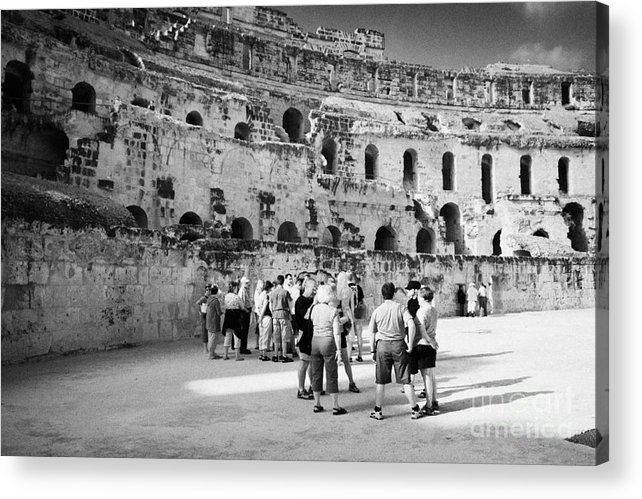 Tunisia Acrylic Print featuring the photograph Groups Of Tourists And Guides In The Main Arena Of The Old Roman Colloseum At El Jem Tunisia by Joe Fox