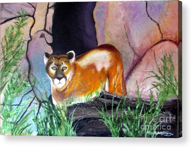 Big Cats Acrylic Print featuring the painting Guarding The Cave by Lora Duguay