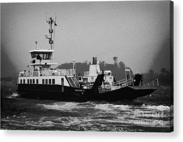 Europe Acrylic Print featuring the photograph portaferry ferry making its way out past the pier in rough seas and high winds on a stormy day Portaferry county down by Joe Fox