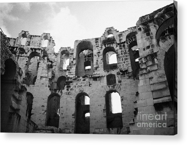 Tunisia Acrylic Print featuring the photograph Remains Of Tiered Arches Of The Old Roman Colloseum At El Jem Tunisia by Joe Fox