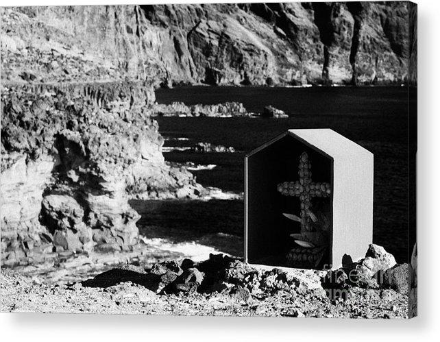 Europe Acrylic Print featuring the photograph small shrine with cross made out of sea shells on rocky coastline at punta de teno Tenerife Canary Islands Spain by Joe Fox