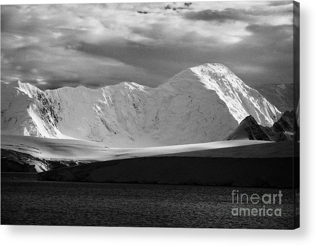 Snow Acrylic Print featuring the photograph snow covered landscape of anvers island and neumayer channel Antarctica by Joe Fox