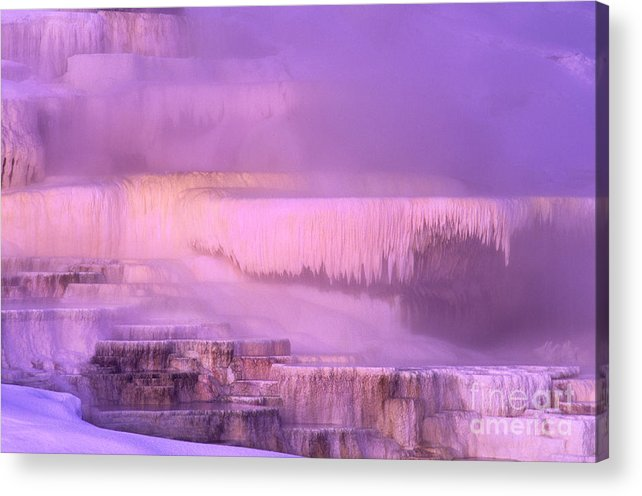 North America Acrylic Print featuring the photograph Sunrise At Minerva Springs Yellowstone National Park by Dave Welling