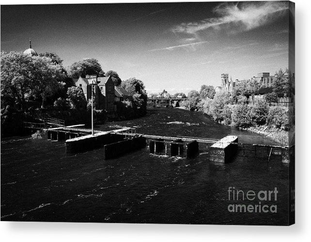 Galway Acrylic Print featuring the photograph weir on the river corrib at Kings Gap Galway city county Galway Republic of Ireland by Joe Fox