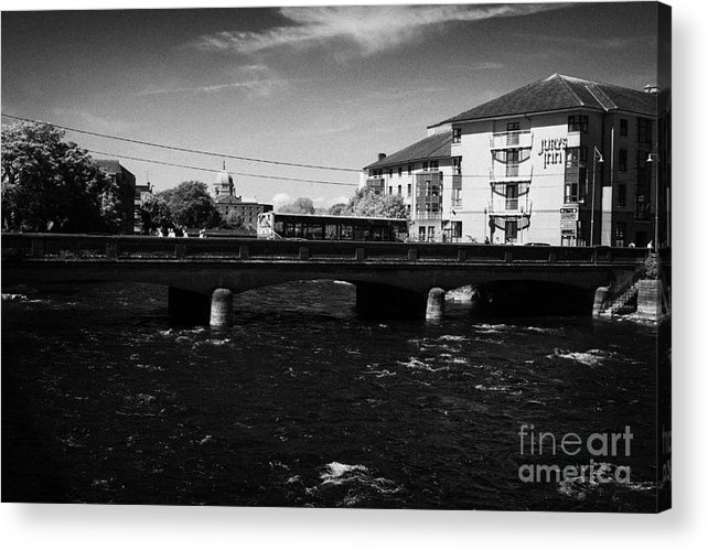 Galway Acrylic Print featuring the photograph wolfe tone bridge and jurys hotel next to the quays on the corrib river Galway city county Galway Republic of Ireland by Joe Fox