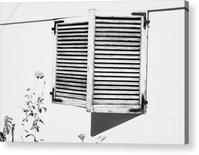 Europe Acrylic Print featuring the photograph wooden sun shutter blinds on windows of house with roses in the garden in tacoronte Tenerife Canary Islands Spain by Joe Fox