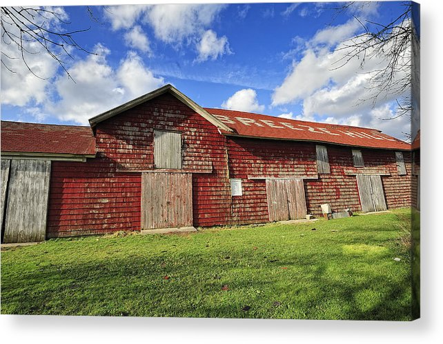 Barn Acrylic Print featuring the photograph Breeze Hill Red Green And Blue by Tim Doubrava