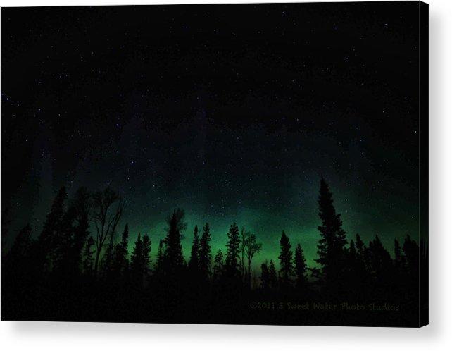 Aurora Borealis Acrylic Print featuring the photograph Trees Aglow by Marie Fierek