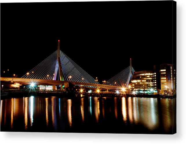 Bridge Acrylic Print featuring the digital art Zakim Over The Charles River by Richard Bramante