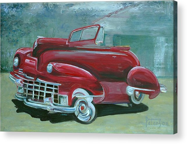 1947 Cadillac Acrylic Print featuring the painting Cadillac 47 by Gary Peterson