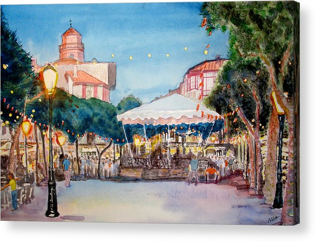 Cityscape Acrylic Print featuring the painting Concert To St Jean-de-luz by Aymeric NOA