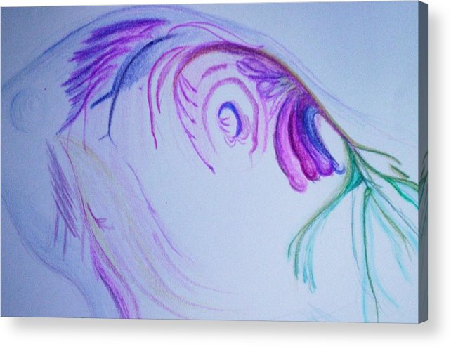 Abstract Painting Acrylic Print featuring the painting Fishy by Suzanne Udell Levinger