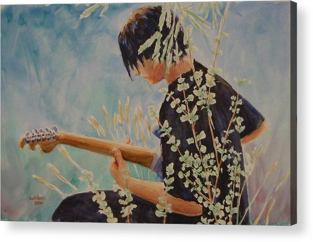 Guitar Player Acrylic Print featuring the painting Guitar Man by Jerry Cave