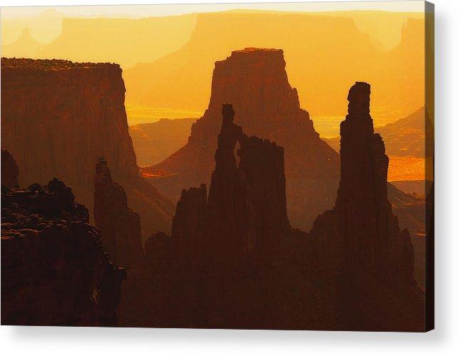 Desert Acrylic Print featuring the photograph Hazy Sunrise Over Canyonlands National Park Utah by Utah Images