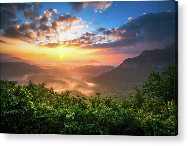 Sunset Acrylic Print featuring the photograph Highlands Sunrise - Whitesides Mountain In Highlands Nc by Dave Allen