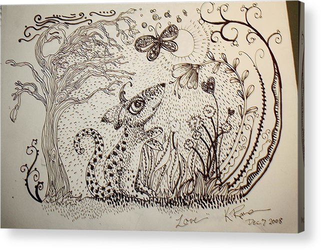 Pen Ink Nature Black White Acrylic Print featuring the ceramic art Mouse by Kathleen Raven