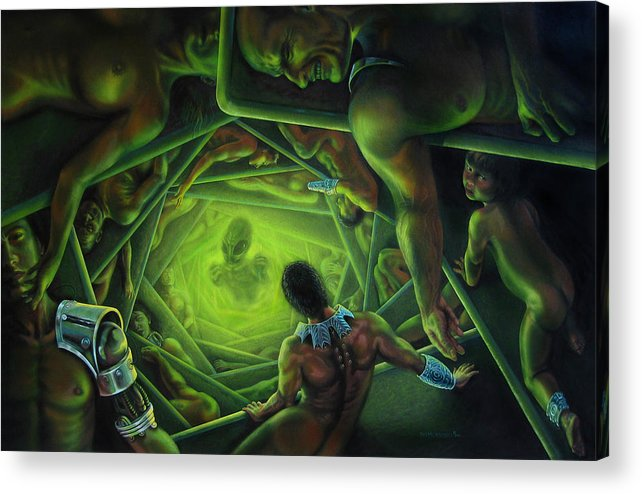 Sci-fi Acrylic Print featuring the painting One Terrible Night by Pat Lewis