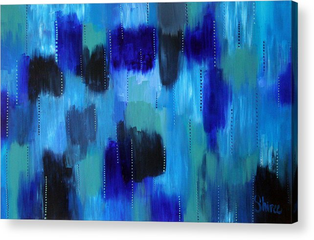 Abstract Paintings Acrylic Print featuring the painting Pearl Raindrops by Shiree Gilmore