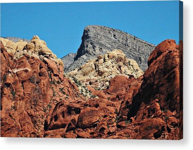Red Rock Canyon Acrylic Print featuring the photograph Red Rock Canyon Vista Nevada by Allan Einhorn