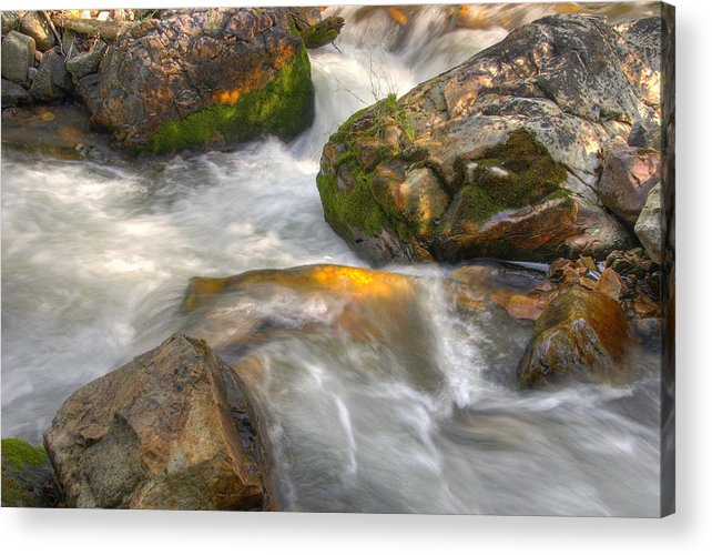 River; Stream; Creek; Rivulet; Brook; Water; Fall; Falls; Waterfall; Watercourse; Cascade; Torrent; Acrylic Print featuring the photograph Rushing Water 1 by Douglas Pulsipher
