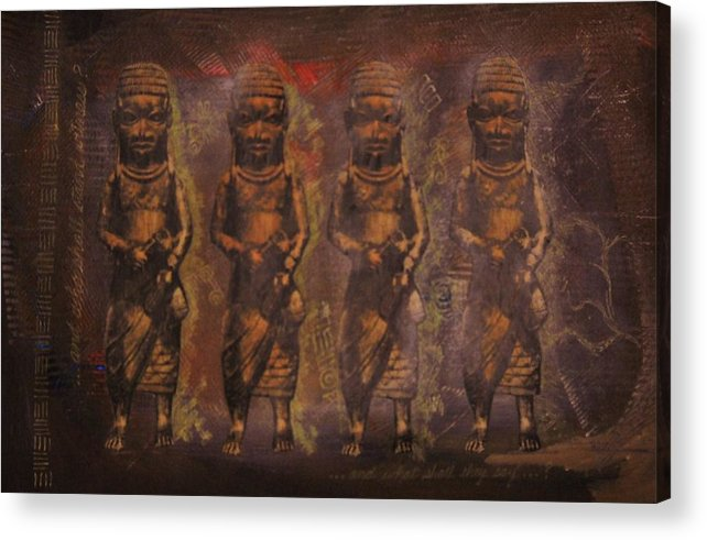 Nigeria Acrylic Print featuring the mixed media The Guardians by Candace Hunter