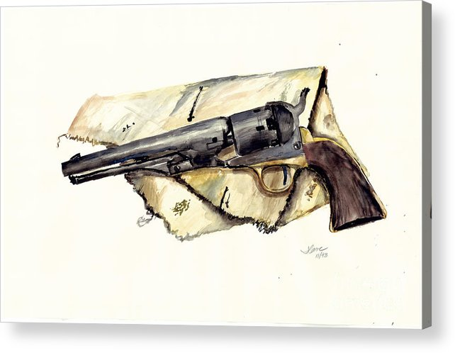 Watercolor Acrylic Print featuring the painting The Old Colt by Jerry Cave