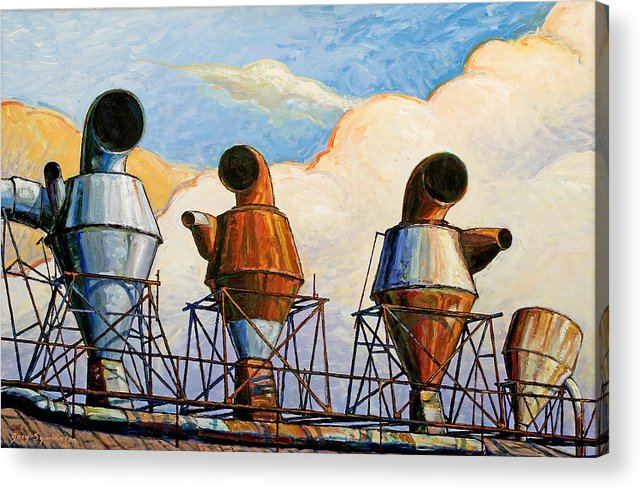 Landscape Acrylic Print featuring the painting Three Sentinels by Gary Symington