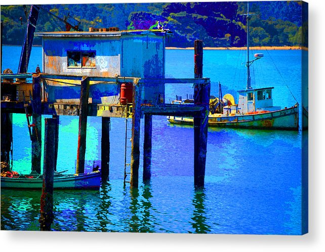 Acrylic Print featuring the digital art Two Boats by Danielle Stephenson