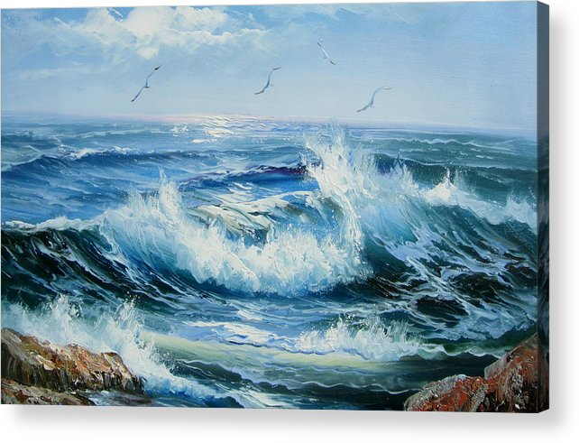 Seascape Acrylic Print featuring the painting Wave Goodbye by Imagine Art Works Studio