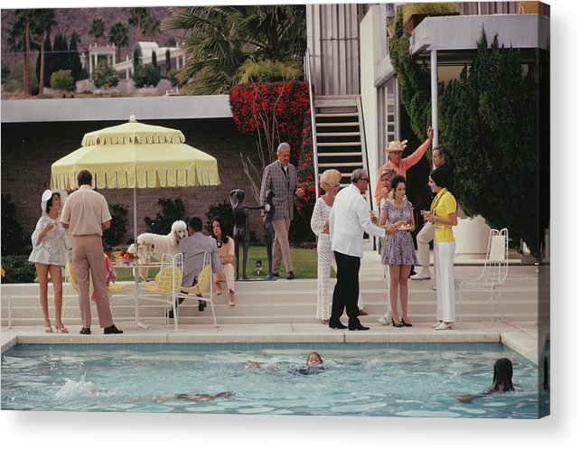 People Acrylic Print featuring the photograph Poolside Party by Slim Aarons