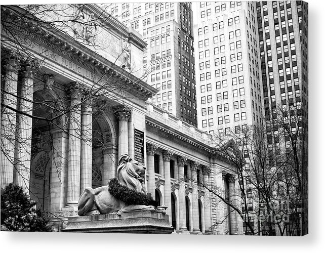 Christmas At The New York Public Library Acrylic Print featuring the photograph Christmas At The New York Public Library At 42nd Street by John Rizzuto