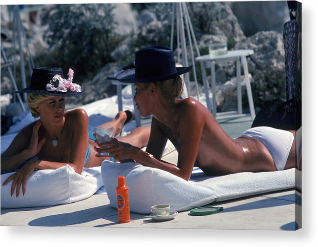 People Acrylic Print featuring the photograph Sunbathing In Antibes by Slim Aarons