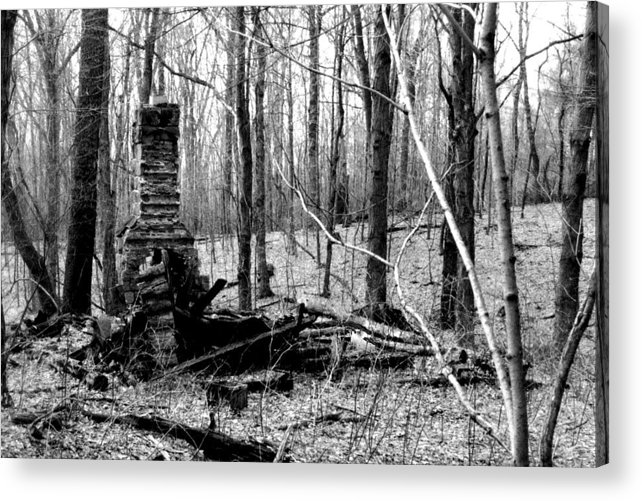 Cabin Acrylic Print featuring the photograph 072606-32bw Once Upon A Time There Was A Cabin In A Forest.. by Mike Davis