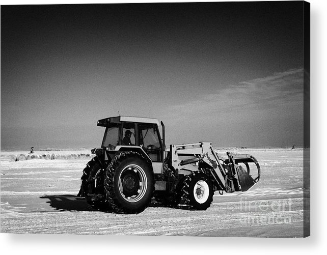 International Acrylic Print featuring the photograph international 5140 tractor with front end loader on frozen field Forget Saskatchewan Canada by Joe Fox