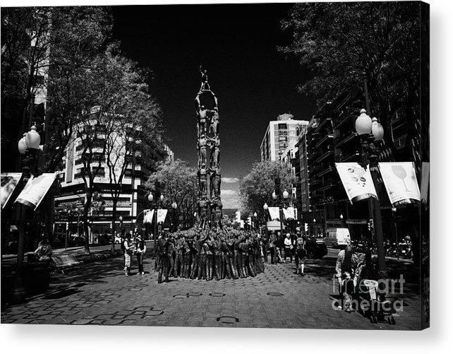 Rambla Acrylic Print featuring the photograph Monument To The Castellers On Rambla Nova Avenue In Central Tarragona Catalonia Spain by Joe Fox