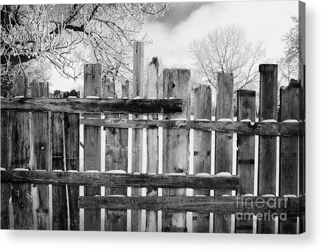 Old Acrylic Print featuring the photograph old patched up wooden fence using old bits of wood in snow Forget Saskatchewan Canada by Joe Fox