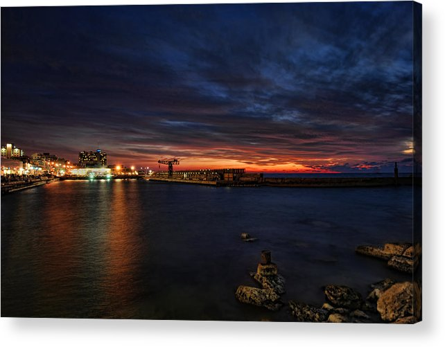 Israel Acrylic Print featuring the photograph a flaming sunset at Tel Aviv port by Ron Shoshani
