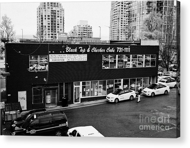 Black Acrylic Print featuring the photograph black top and checker cabs office Vancouver BC Canada by Joe Fox