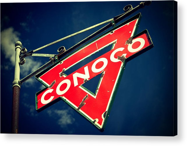 Old Signs Acrylic Print featuring the photograph Conoco by Tony Santo