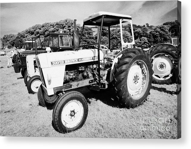 County Acrylic Print featuring the photograph David Brown Selectamatic 990 Classic Tractor During Vintage Tractor Rally At Glenarm Castle Open Day County Antrim Northern Ireland by Joe Fox
