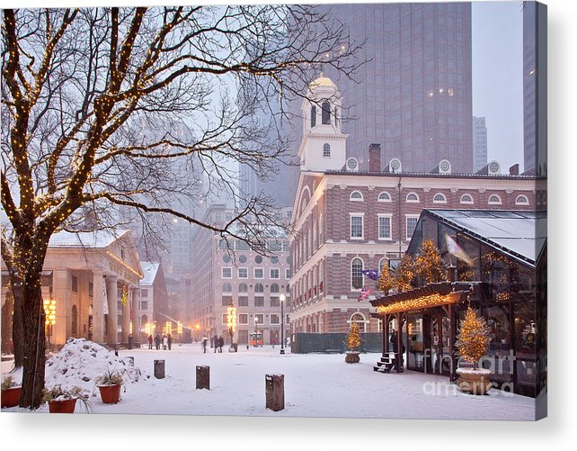 Architecture Acrylic Print featuring the photograph Faneuil Hall In Snow by Susan Cole Kelly