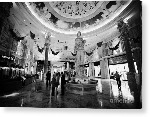Caesars Acrylic Print featuring the photograph foyer and entrance to the forum shops at caesars palace luxury hotel and casino Las Vegas Nevada USA by Joe Fox