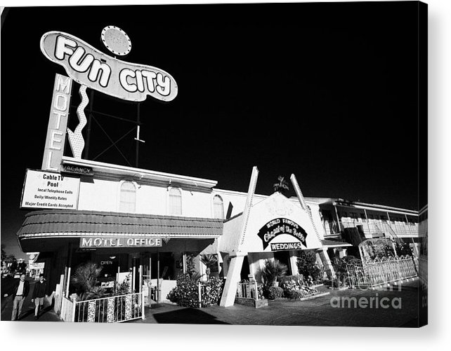 Wedding Acrylic Print featuring the photograph fun city motel and chapel of the bells wedding chapel on the strip Las Vegas Nevada USA by Joe Fox