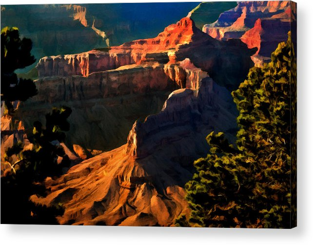 Grand Canyon National Park Acrylic Print featuring the painting Grand Canyon At Sunset by Bob and Nadine Johnston
