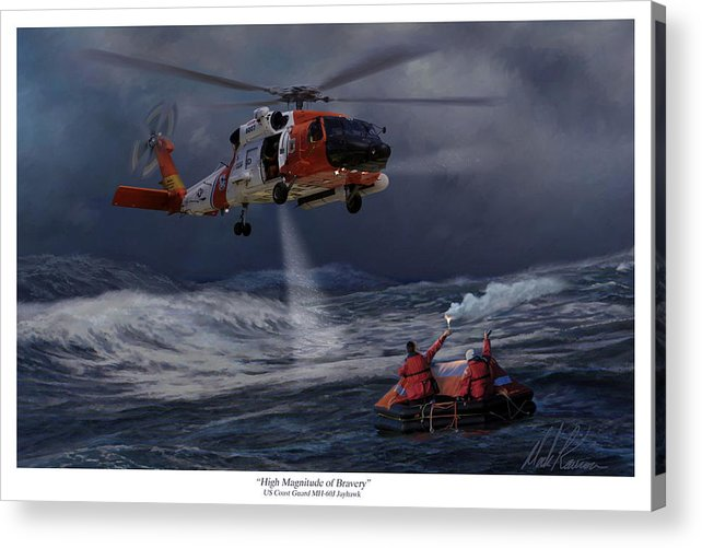 Aviation Acrylic Print featuring the painting High Magnitude Of Bravery by Mark Karvon